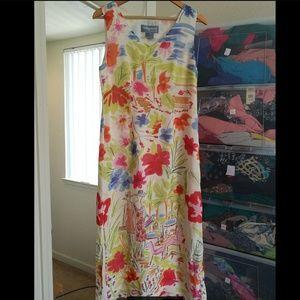 100% SILK Floral tropical full length  dress, NWOT